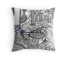 Urban Tapestry, abstract, pastel on paper Throw Pillow
