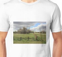 Country Wooden Fence with Storm Cloud's Unisex T-Shirt