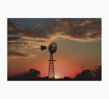 Kansas Country Windmill Blaze Orange Silhouette Baby Tee