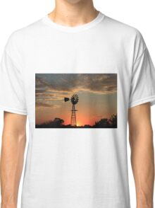 Kansas Country Windmill Blaze Orange Silhouette Classic T-Shirt
