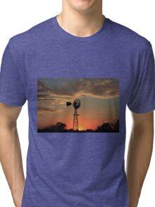 Kansas Country Windmill Blaze Orange Silhouette Tri-blend T-Shirt