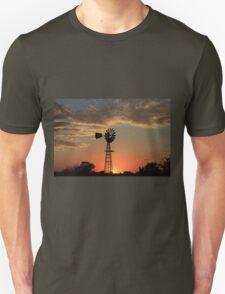 Kansas Country Windmill Blaze Orange Silhouette Unisex T-Shirt