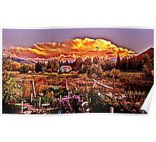Sunset over the Colorado Rocky Mountain Sculpture Garden Poster