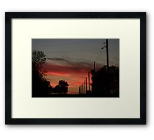 COUNTRY ROAD BLAZING RED SUNSET WITH CLOUD'S AND ROAD Framed Print