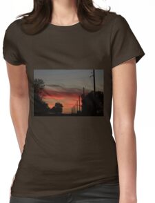 COUNTRY ROAD BLAZING RED SUNSET WITH CLOUD'S AND ROAD Womens Fitted T-Shirt