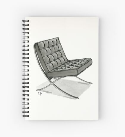 Barcelona chair - Watercolor Painting  Spiral Notebook