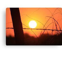 Bright Orange  Fence Line Sunset Canvas Print