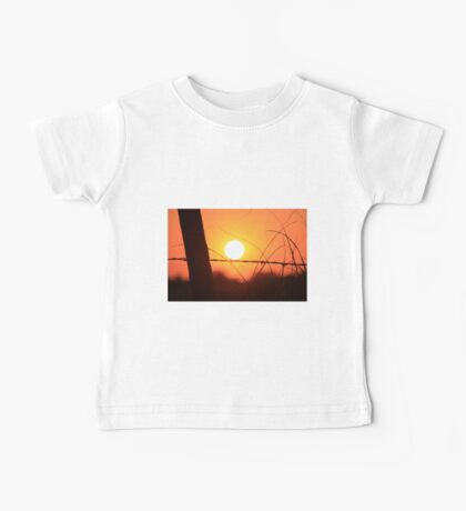 Bright Orange  Fence Line Sunset Baby Tee