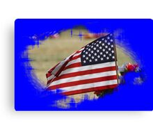 Colorful US Flag enclosed with Blue Canvas Print