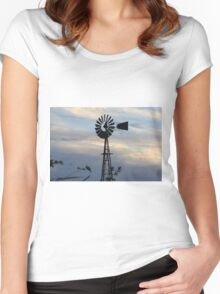 Windmill Sillouette with Gray, Blue Sky in Kansas Women's Fitted Scoop T-Shirt