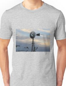 Windmill Sillouette with Gray, Blue Sky in Kansas Unisex T-Shirt