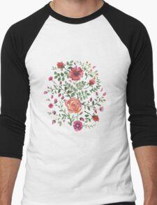 watercolor roses Men's Baseball ¾ T-Shirt