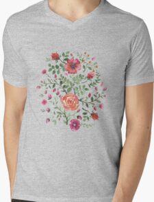 watercolor roses Mens V-Neck T-Shirt