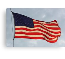 US FLAG Flying in the Sun Light Canvas Print