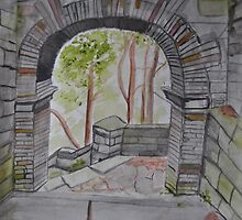 Watercolour of Rivington Pike Arch by Julie Lunan