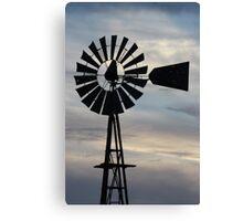 Kansas Windmill Silhouette with Sky Canvas Print