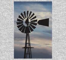 Kansas Windmill Silhouette with Sky Kids Tee