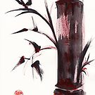 &quot;Crimson in the Mist&quot; dry brush and India ink bamboo painting by Rebecca Rees