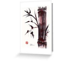 """Crimson in the Mist"" dry brush and India ink bamboo painting Greeting Card"