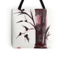 """Crimson in the Mist"" dry brush and India ink bamboo painting Tote Bag"