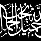 God Is Beautiful and He Loves Beauty (Arabic Calligraphy WHITE) by Omar Dakhane