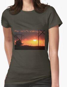 Kansas Blazing Orange Sunset  with cloud's Womens Fitted T-Shirt