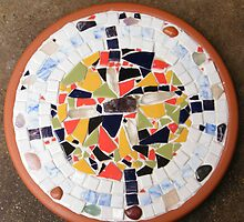 Garden stepping stone I made out of crystals and tile  by mandyemblow