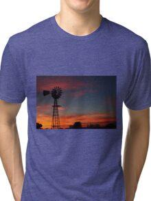 Kansas Colorful Windmill Silhouette Tri-blend T-Shirt