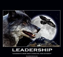 Leadership Grey Wolf and Raven Artwork by Val  Brackenridge