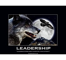 Leadership Grey Wolf and Raven Artwork Photographic Print