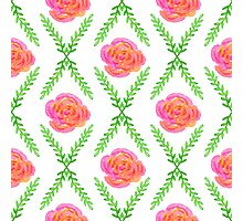 Watercolor rose pattern Photographic Print