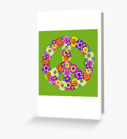 Peace Sign Floral on Green Greeting Card