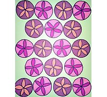 Pink and Purple Flower Pattern Photographic Print