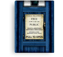 Free For Use Of Public - Tardis Door Sign - (please see notes) Canvas Print