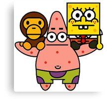 Spongebob baby milo and Patrick star Canvas Print