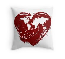 Rustic World Heart Throw Pillow