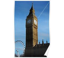 Big Ben and London Eye perspective Poster