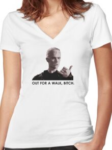 Spike, out for a walk - dark font (TANK/SCOOP TOP) Women's Fitted V-Neck T-Shirt