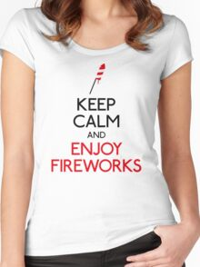 Keep calm and enjoy fireworks Women's Fitted Scoop T-Shirt