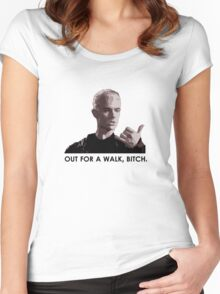 Spike, out for a walk - dark font (TSHIRT) Women's Fitted Scoop T-Shirt