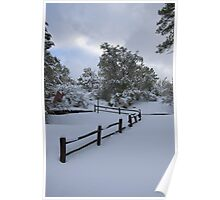 Country Fence In The Snow Poster