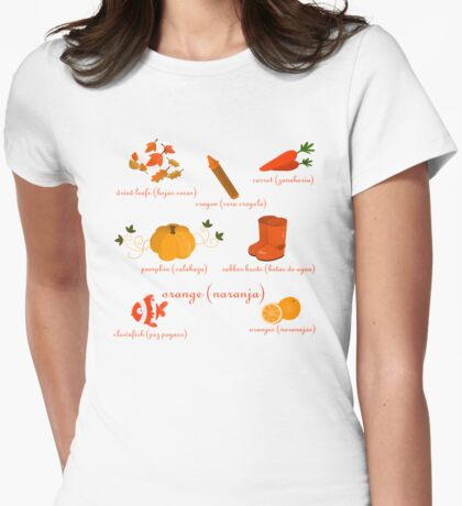 Colors: orange (Los colores: naranja) Womens Fitted T-Shirt