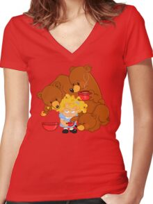 Goldilocks and the Three Bears Women's Fitted V-Neck T-Shirt