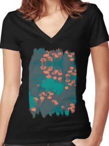 Medusa / Crazy Jellyfish Blue Atoll Women's Fitted V-Neck T-Shirt