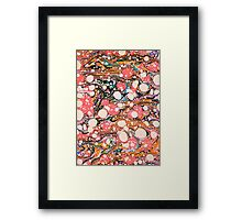 Psychedelic Retro Marbling Paper Framed Print