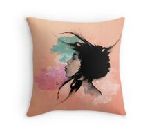 Psychedelic Blow Japanese Girl Throw Pillow