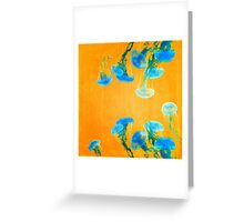 Crazy Yellow Burning Jellyfish Greeting Card