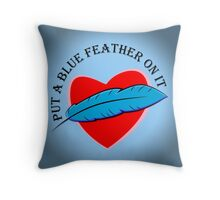 Blue Feather Love Throw Pillow