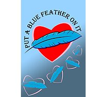 Blue Feather Love Photographic Print