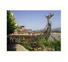 Dragon Ship Replica at the Golden Triangle, Thailand. Art Print
